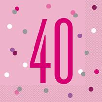 Pink Glitz 40th Birthday Napkins 16pk