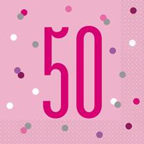 Pink Glitz 50th Birthday Napkins 16pk