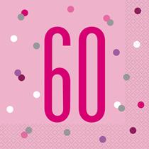 Pink Glitz 60th Birthday Napkins 16pk