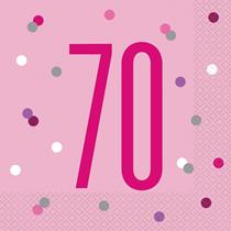Pink Glitz 70th Birthday Napkins 16pk