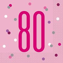 Pink Glitz 80th Birthday Napkins 16pk