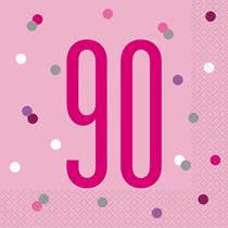 Pink Glitz 90th Birthday Napkins 16pk