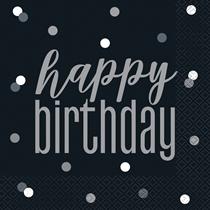 Black Glitz Happy Birthday Lunch Napkins 16pk