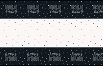 Black Glitz Happy Birthday Plastic Tablecover