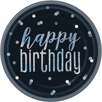"Black Glitz Foil Stamped 9"" Happy Birthday Plates 8pk"