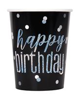 Black Glitz Foil Stamped Happy Birthday Paper Cups 8pk