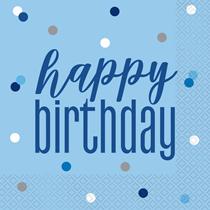 Blue Glitz Happy Birthday Lunch Napkins 16pk