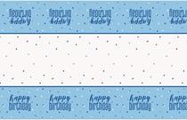 Blue Glitz Happy Birthday Plastic Tablecover