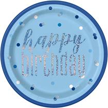 "Blue Glitz Foil Stamped Happy Birthday 9"" Paper Plates 8pk"