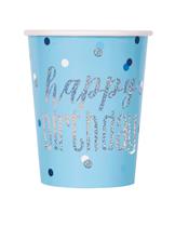 Blue Glitz Foil Stamped Happy Birthday Paper Cups 8pk