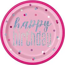"Pink Glitz Happy Birthday Foil Printed 9"" Plates 8pk"