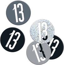 Black Glitz 13th Birthday Foil Confetti 14g