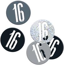Black Glitz 16th Birthday Foil Confetti 14g