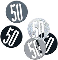 Black Glitz 50th Birthday Foil Confetti 14g
