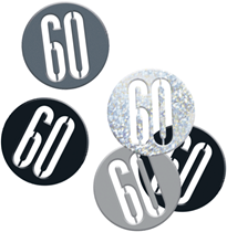 Black Glitz 60th Birthday Foil Confetti 14g