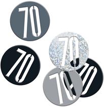 Black Glitz 70th Birthday Foil Confetti 14g