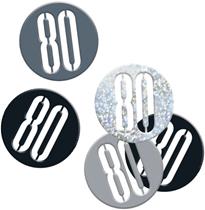 Black Glitz 80th Birthday Foil Confetti 14g