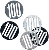 Black Glitz 100th Birthday Foil Confetti 14g