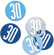 Blue Glitz 30th Birthday Foil Confetti 14g