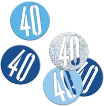 Blue Glitz 40th Birthday Foil Confetti 14g