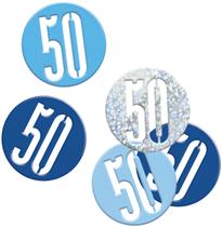 Blue Glitz 50th Birthday Foil Confetti 14g