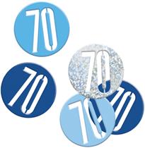 Blue Glitz 70th Birthday Foil Confetti 14g