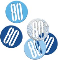 Blue Glitz 80th Birthday Foil Confetti 14g