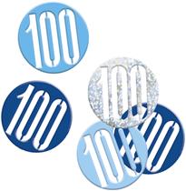 Blue Glitz 100th Birthday Foil Confetti 14g