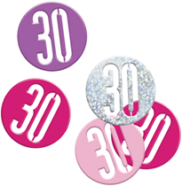 Pink Glitz 30th Birthday Foil Confetti 14g