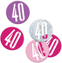 Pink Glitz 40th Birthday Foil Confetti 14g