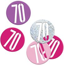 Pink Glitz 70th Birthday Foil Confetti 14g