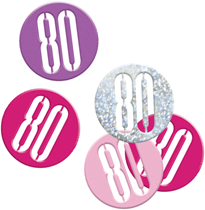 Pink Glitz 80th Birthday Foil Confetti 14g