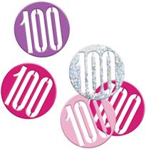 Pink Glitz 100th Birthday Foil Confetti 14g