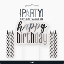 Black Glitz Happy Birthday Pick & 6 Candles