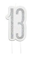 Black Glitz Silver 13th Birthday Candle