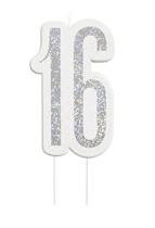 Black Glitz Silver 16th Birthday Candle