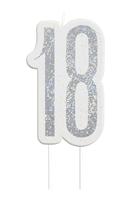 Black Glitz Silver 18th Birthday Candle
