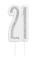 Black Glitz Silver 21st Birthday Candle