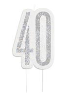 Black Glitz Silver 40th Birthday Candle