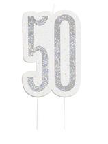 Black Glitz Silver 50th Birthday Candle