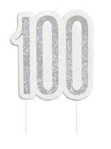 Black Glitz Silver 100th Birthday Candle