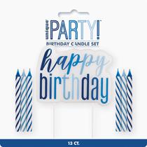 Blue Glitz Happy Birthday Pick & 11 Candles