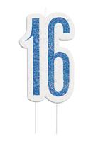 Blue Glitz 16th Birthday Candle