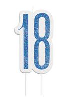 Blue Glitz 18th Birthday Candle