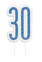 Blue Glitz 30th Birthday Candle