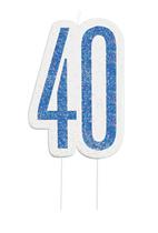 Blue Glitz 40th Birthday Candle