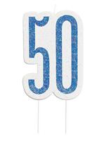 Blue Glitz 50th Birthday Candle