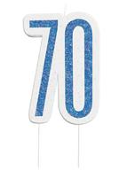 Blue Glitz 70th Birthday Candle