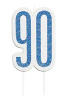 Blue Glitz 90th Birthday Candle