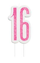 Pink Glitz 16th Birthday Glitter Candle